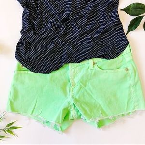 7 for all mankind neon cut off jean shorts